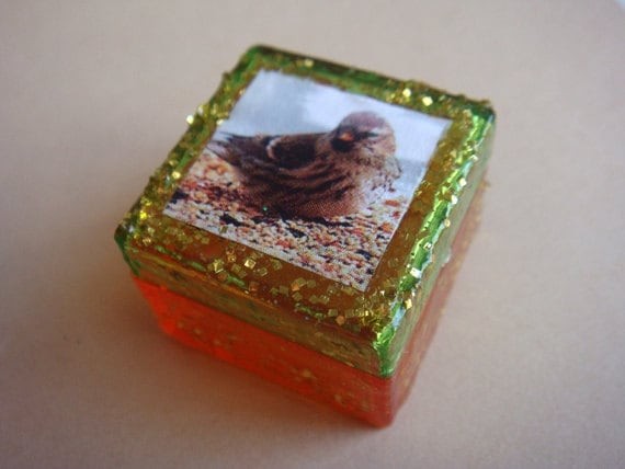 Little Bird Trinket Box, Orange and Green with Gold Glitter, one of a kind pill box, stash box