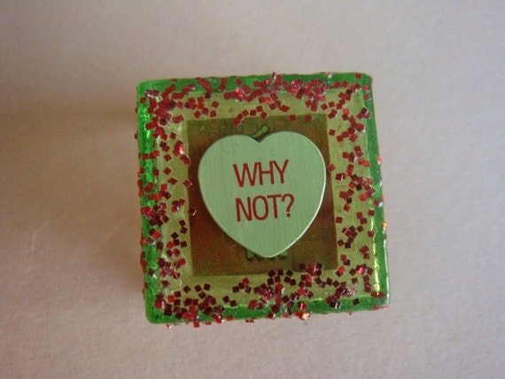 Tiny Trinket Box, Green and Red with Conversation Heart and Glitter, For Valentines Day, Why Not
