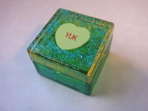 Pill Box, Anti Valentines Day, Conversation Heart, Green, Stash your tiny trinkets, weird