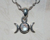 Mini sterling silver moonstone triple moon necklace