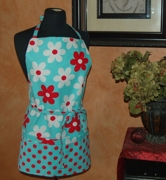 Full Apron - Blue with pink and white Flower and polka dots - MOD - Cute Reversible with pockets