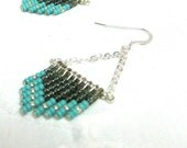 Antique silver, Turquoise, and Smoke Gray Beaded Fringe Earrings with a chevron curve