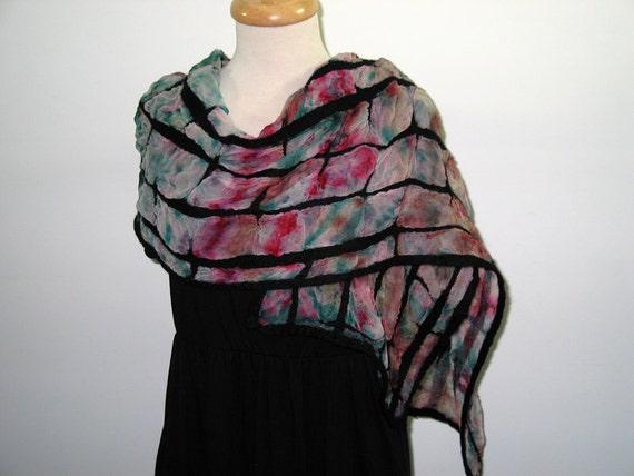 Hand dyed  silk scarf with black merino design, nuno felting