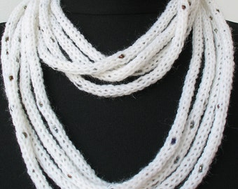 50% OFF SALE - Knit Scarf Necklace - loop scarf - infinity scarf -neck warmer-knit scarflette-in white with pearl seed beads (WAS 29)   E123