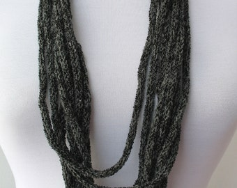 50% OFF SALE - Knit Scarf Necklace-loop scarf-infinity scarf-neck warmer -knit scarflette -in dark gray (WAS 25)   E111