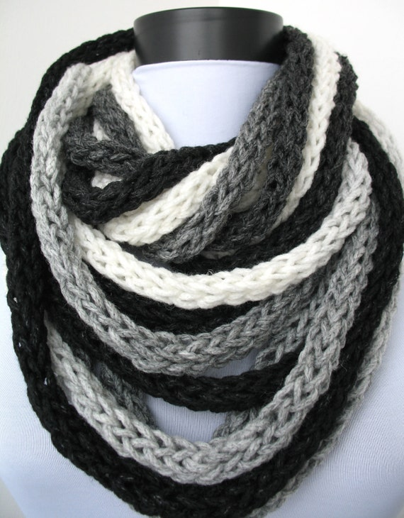 50% OFF SALE - Scarf necklace - loop scarf - infinity scarf - neck warmer - hand knitted - in white, gray and black (WAS 60)
