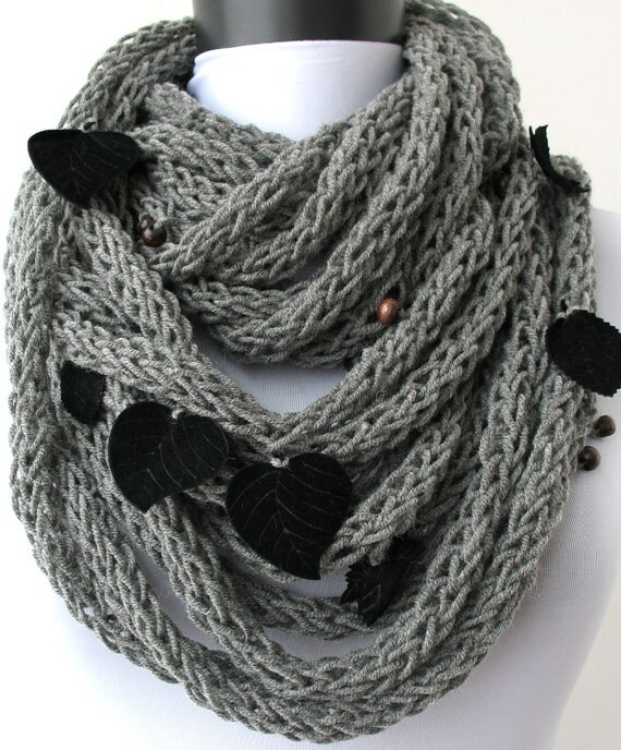 50% OFF SALE - Scarf necklace - loop scarf-Infinity scarf-neck warmer-hand knitted-in gray with leaves and wooden beads (WAS 60)