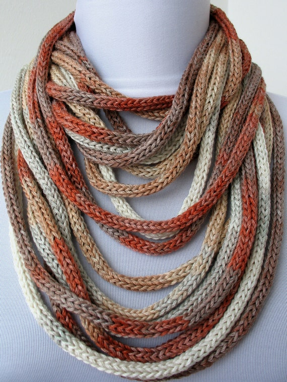 Knit Scarf Necklace - loop scarf -infinity scarf -neck warmer -knit scarflette - in ivory,beige,gray,brick and cappuccino