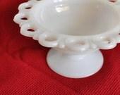Vintage White Milk Glass Candy Dish