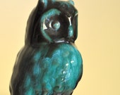 Owl Figurine in Vintage Turquoise and Black
