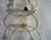 Mon doux amour - wire wrapped bangle in amethyst, citrine, clear quartz
