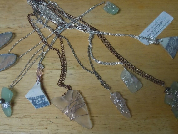 Custom Seaglass Necklaces - Bridesmaid Gift Set - Mix-and-match or matching set