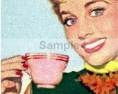 Handmade Retro Woman with tea cup PDF Cross Stitch Pattern crochet Afghan Hand Embroidery Needle Craft