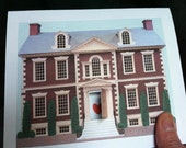 Home is where the heart is - Colonial home - 3-D greeting Card