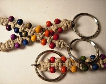 3 hemp keychains - rainbow beads
