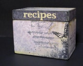 Recipe Box or Wedding Guest Book Box - 4x6 recipe card wooden box - Butterflies & Notes - Personalized