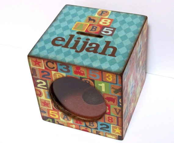 Wood Coin Bank Box Childs Piggy Bank with Window - Building Blocks - Personalized
