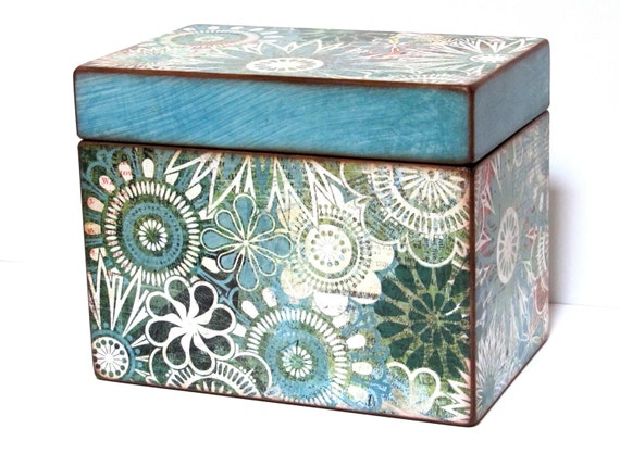 Recipe Box with Teal and Turquoise Flowers - 4x6 inch wooden recipe card box