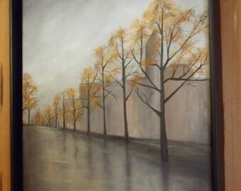Watch your Step - Street Scene Rainy Day Trees Acrylic Painting original art 20 X 16 Unframed