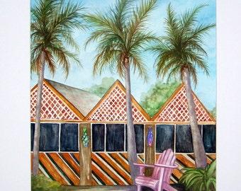 Mc T Sanibel Island Florida Restaurant Original Watercolor Art 11X14 matted 16X20