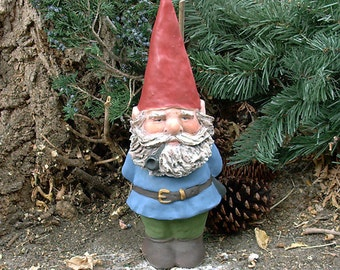 "Willard w/Hand Sculpted-Beard (Blue w/Pipe) 14"" Tall Gnome"