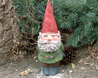 "Willard w/Hand-Sculpted Beard (Green) 14"" Tall Gnome"