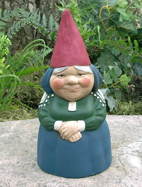 "SALE! Mrs Gnome 9"" Tall Garden Gnome Blue Item R51P"