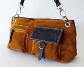 Vintage Pelletterie Suede Leather Shoulder Bag Satchel Made In Italy