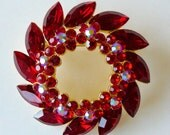 Vintage Candy Apple Ruby Red AB Marquis Rhinestone Floral Wreath Brooch