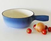 Vintage Swissmar Blue Enamel Coated Cast Iron Saucepan