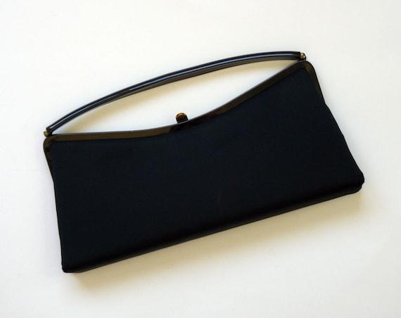 Vintage 1960's Mod Bobbie Jerome Groovy Black Clutch Handbag