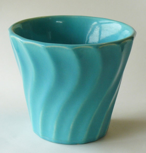 Vintage Bauer Turquoise Swirl Pot California Pottery