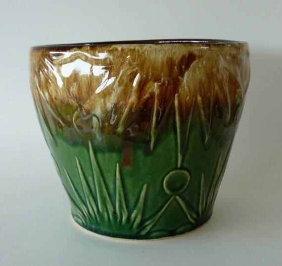 Mccoy Jardiniere Green Brown Sunrise Pot Planter Usa