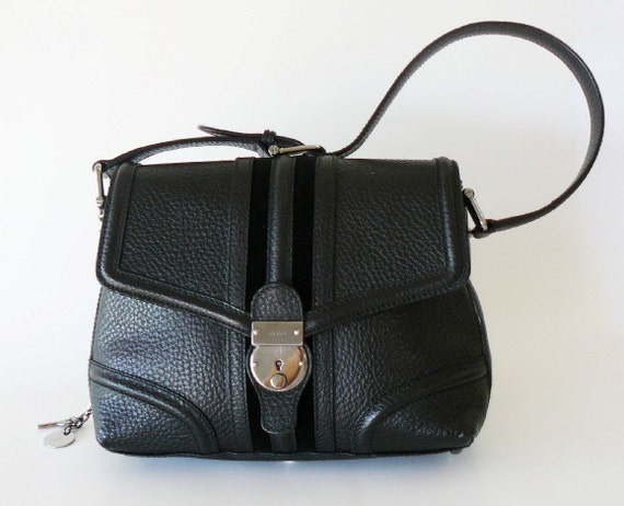 Authentic Classic Gucci Black Leather Horsebit Shoulder Bag Made in Italy