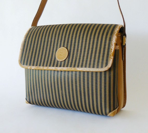 Authentic Vintage Fendi Signature Stripe Shoulder Bag Made in Italy