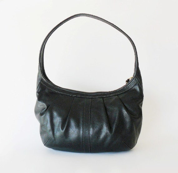 Authentic Classic Coach Pleated Ergo Black Leather Hobo Shoulder Bag