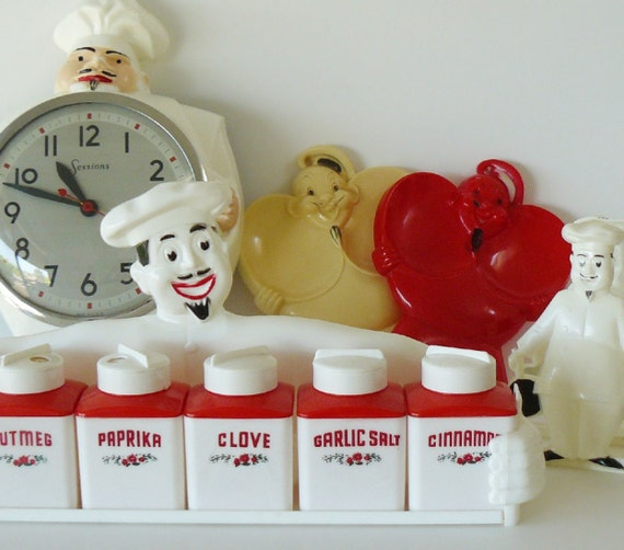 Mid-Century Plastic Jolly French Chef Collection Spice Set Napkin Holder Spoon Rest Sessions Clock