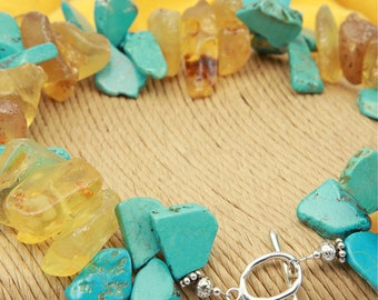 Turquoise colored HOWLITE  & COPAL Amber Slices NECKLACE Choker Sale!!