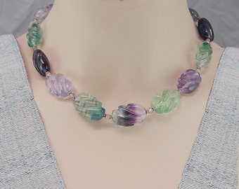 FLUORITE NECKLACE CARVED beads Choker Gift Spring