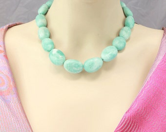 FUN SALE: Amazonite Necklace with Sterling Silver Clasp Choker Statement Necklace Bold Matte finish nuggets Sandwashed