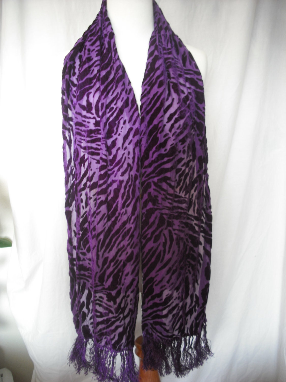 silk velvet scarf in royal purple