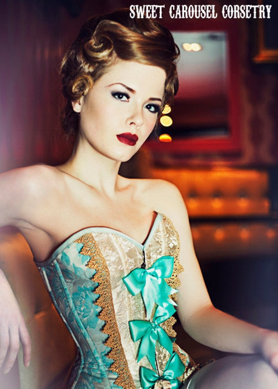 Blue and Gold Antoinette inspired sweetheart overbust corset