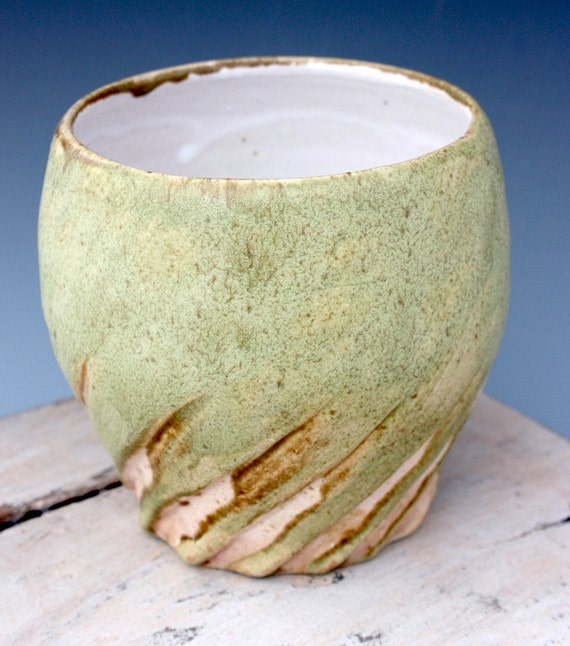 Ceramic Cup in Sage Green with Pink Twist