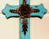 DC033C Large Turquoise Wood Cross with Rustic Rose and Leaves