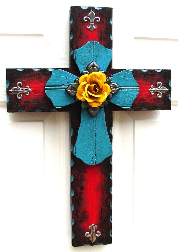 DC024A Red & Turquoise Stacked Rustic Cross with Yellow Rose