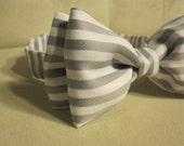 Grey & White Stripe Bow Tie w/velcro adjustment