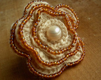 Beaded Ivory Crochet Flower Ring With Fresh Water Pearl