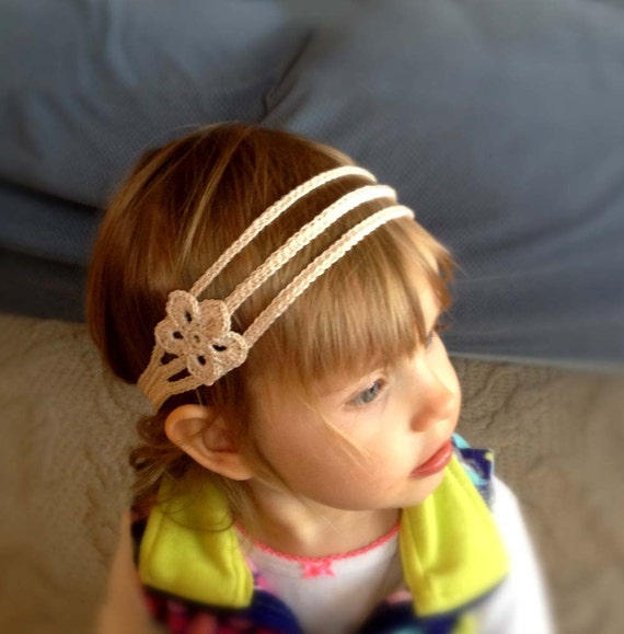 Child's Crochet Headband - Ivory Cotton with Flower