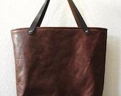 LAST ONE - Large Antiqued Brown Buffalo hide Tote Bag handbag