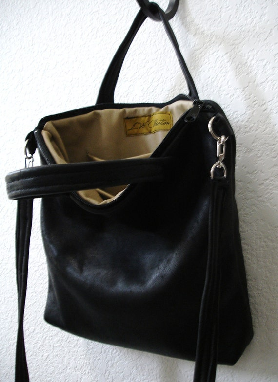 Black Leather Tote Bag Etsy